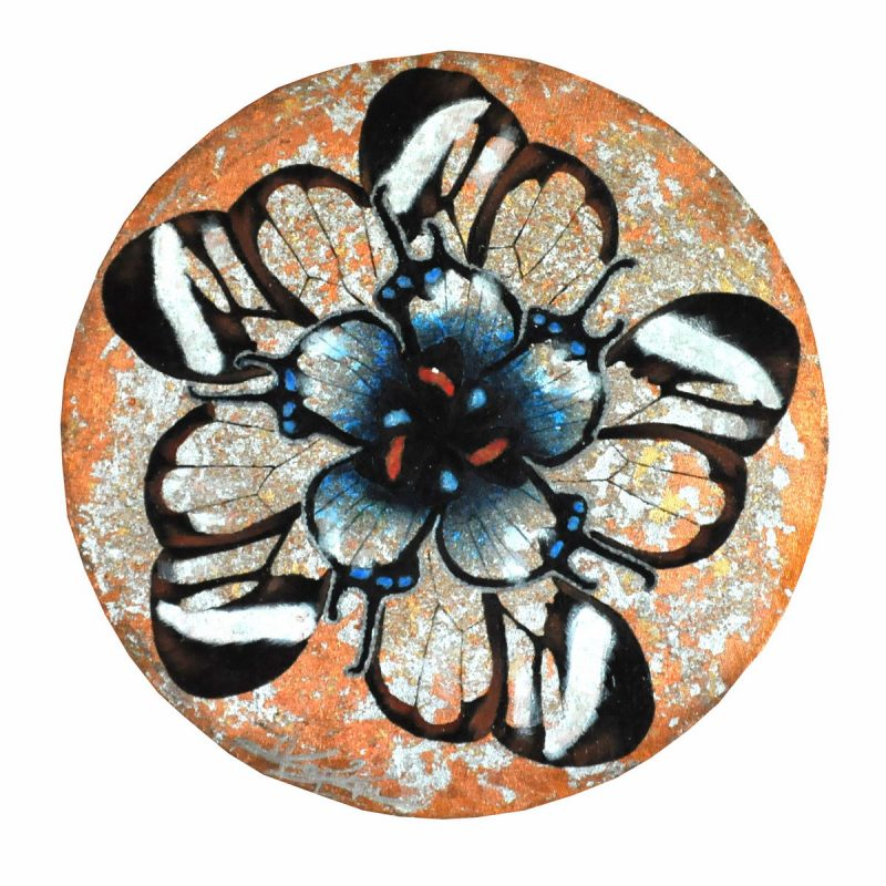 Butterfly Flower II (40cm) mixed media on round canvas