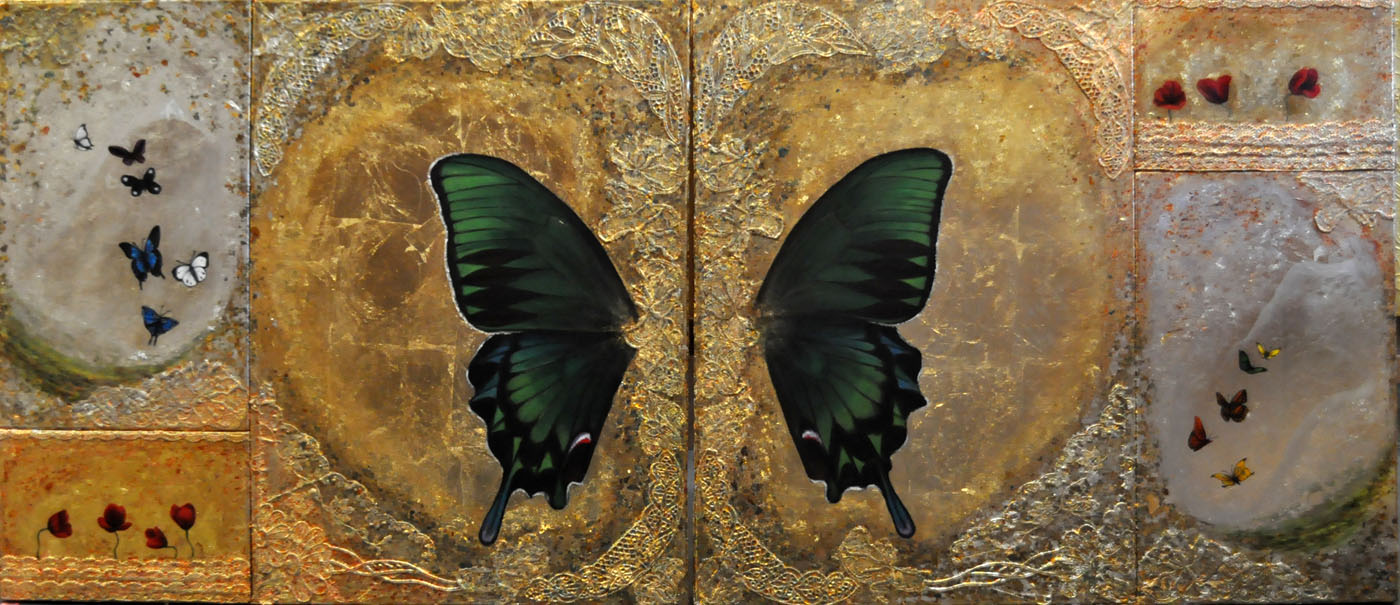 5th Dimension-Diptych (160x70cm) mixed media on canvas