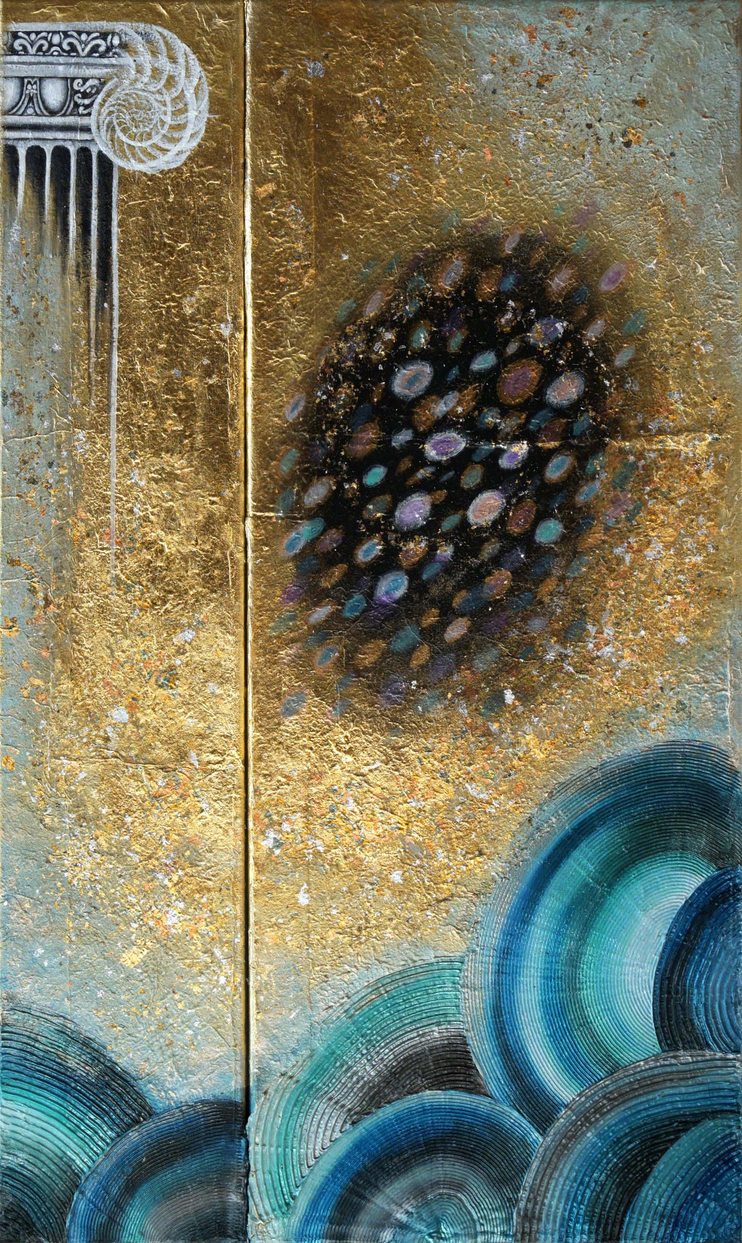 Cosmic Sea IV-(100×60)cm-mixed media on canvas