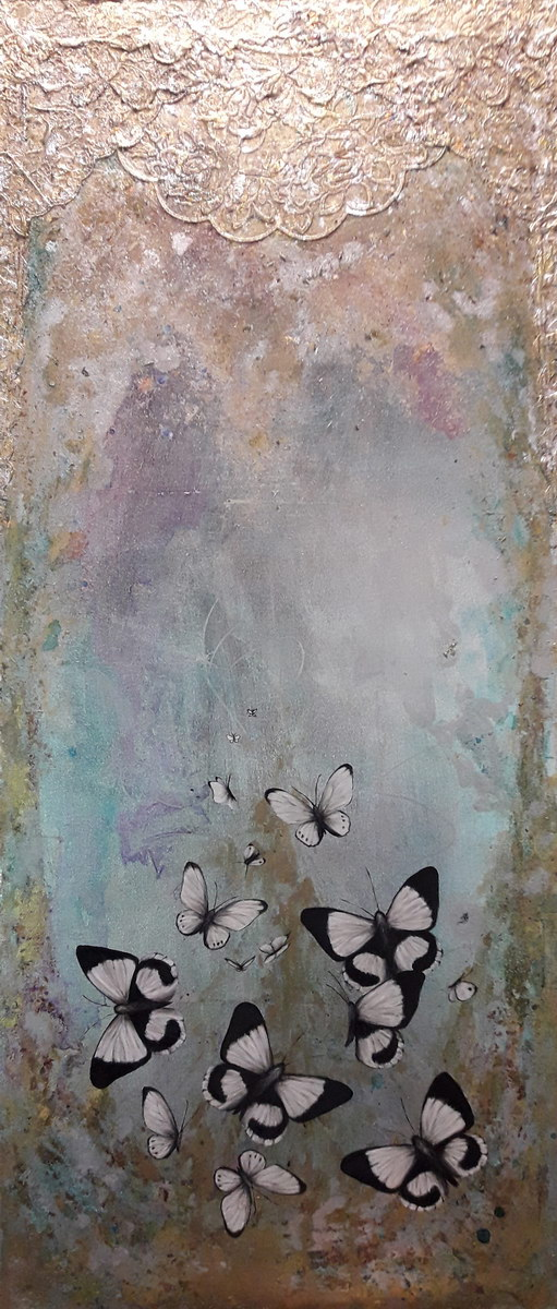 Gate (120x50cm) mixed media on canvas