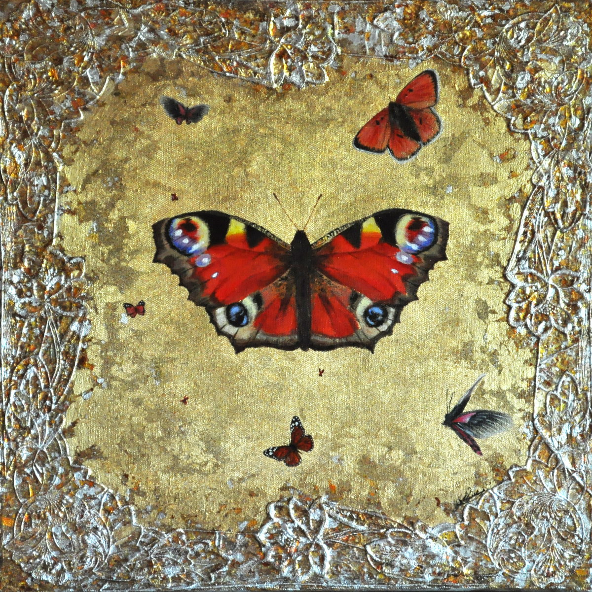 Portrait of a Butterfly (50x50cm) mixed media on canvas