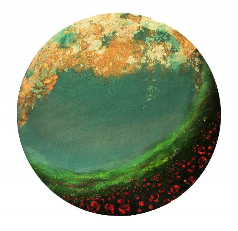 Open Sky V (50cm) mixed media on round canvas